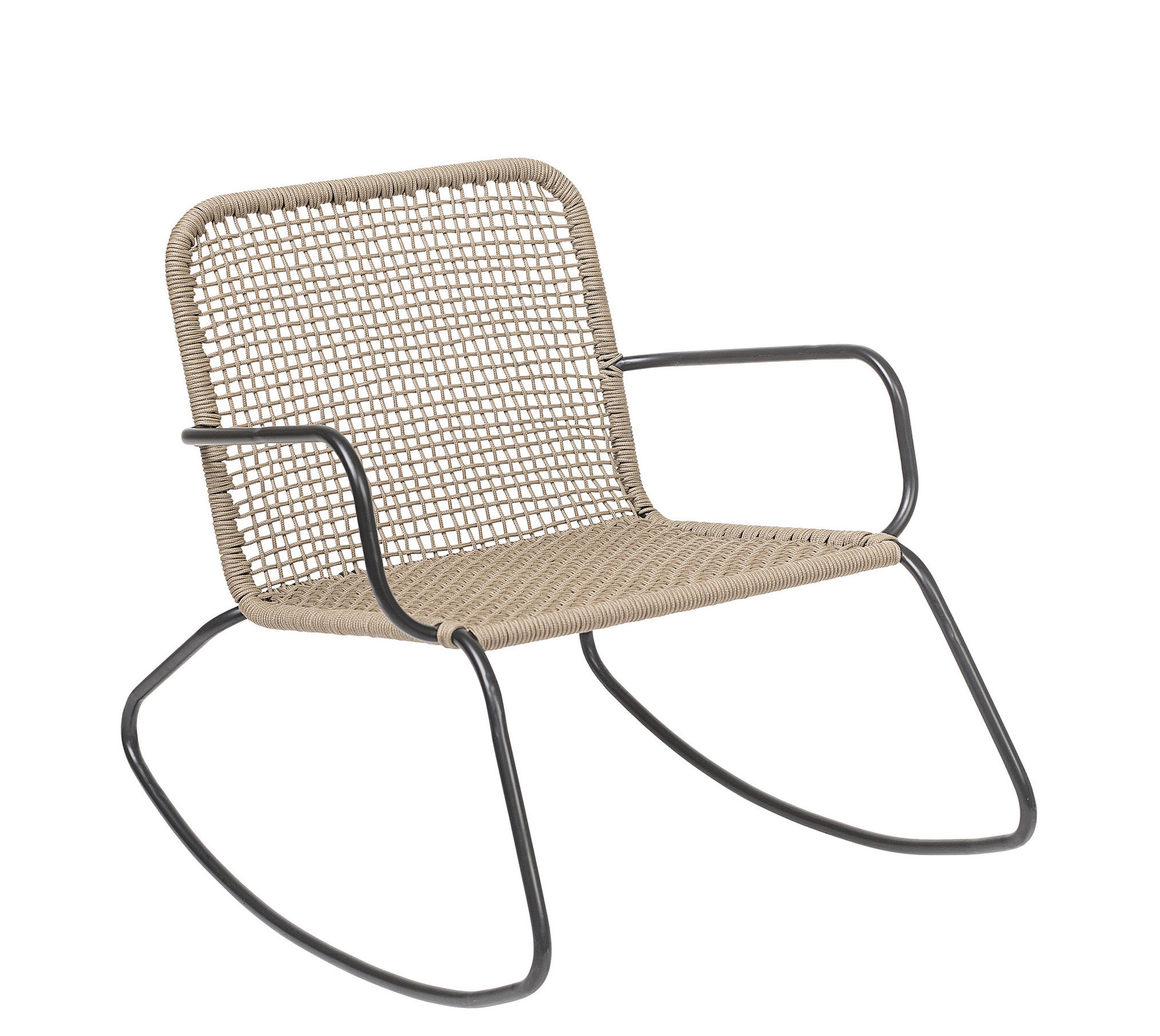 Furniture - Armchairs - Nature Rocking chair - / Indoors & outdoors by Bloomingville - Beige / Black - Lacquered steel, PVC wire