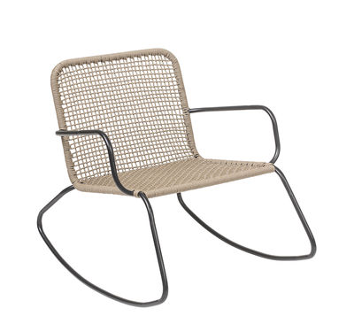 Arredamento - Poltrone design  - Rocking chair Nature - / Interno & esterno di Bloomingville - Beige / nero - Acciaio laccato, Fils PVC