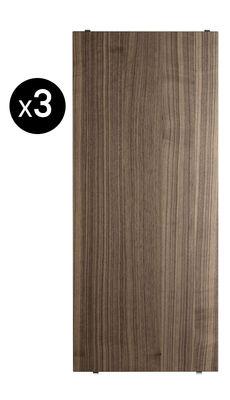 Furniture - Bookcases & Bookshelves - String® System Shelf - L 58 cm - Set of 3 by String Furniture - Walnut - Walnut plywood chipboard