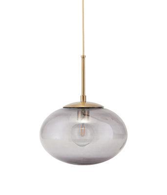 Illuminazione - Lampadari - Sospensione Opal - / vetro - Ø 22 cm di House Doctor - Grigio fumé / Ottone - Metallo, Vetro