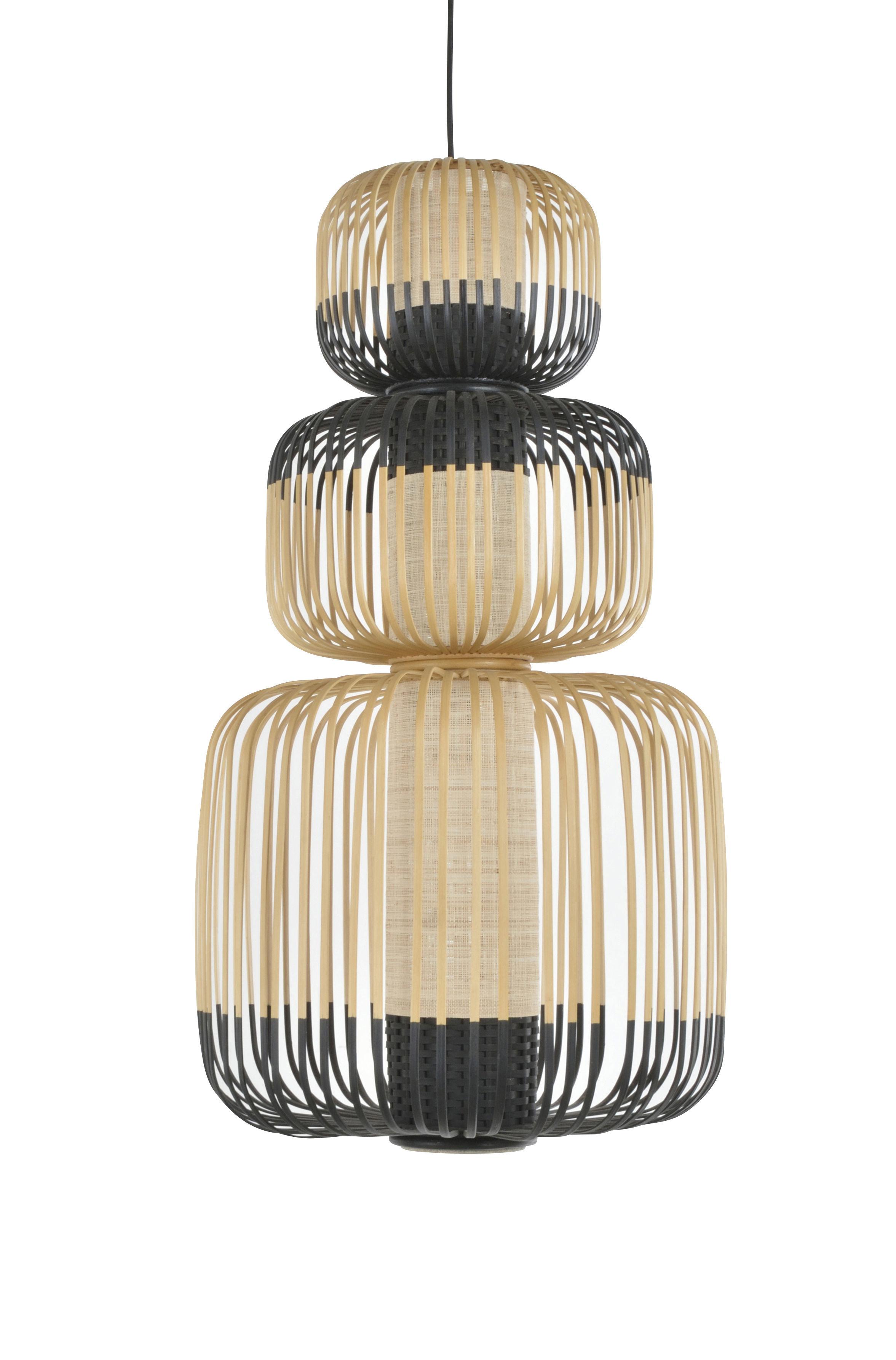 Illuminazione - Lampadari - Sospensione Totem Bamboo Light - / 3 paralumi - H 115 cm di Forestier - H 115 cm / Nero & naturale - Bambù, Tessuto