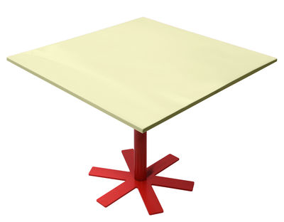 Furniture - Dining Tables - Parrot Square table - 90 x 90 cm by Petite Friture - Pastel yellow / Red leg - Enamelled steel, Powder coated steel