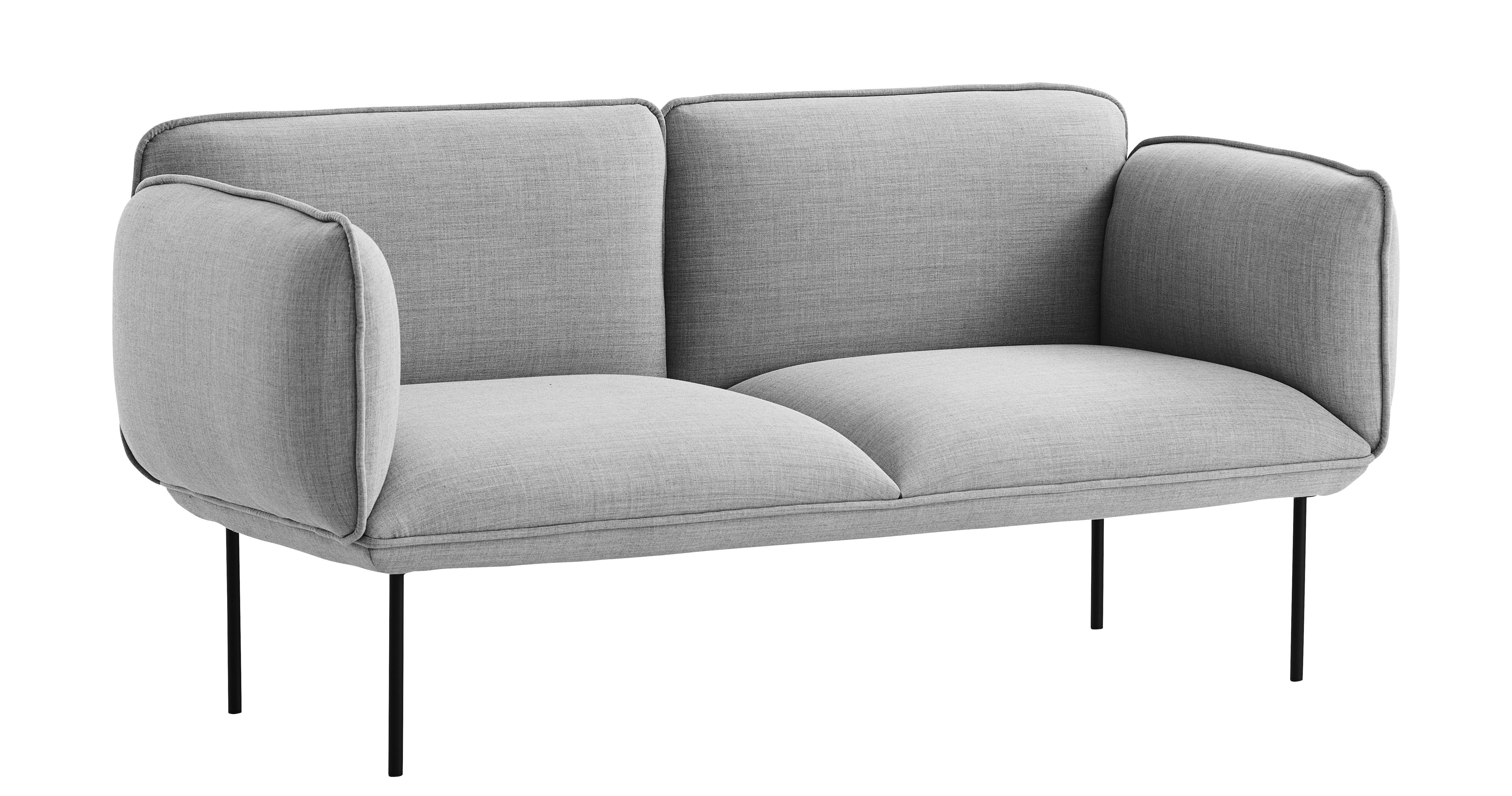 Furniture - Sofas - Nakki Straight sofa - 2 seaters - W 180 cm by Woud - Grey - Fibre, High resilience foam, Kvadrat fabric, Metal, Plywood