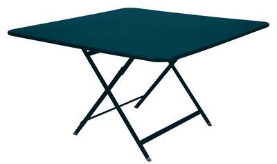 Jardin - Tables de jardin - Table pliante Caractère / 128 x 128 cm - Fermob - Bleu Acapulco - Acier laqué