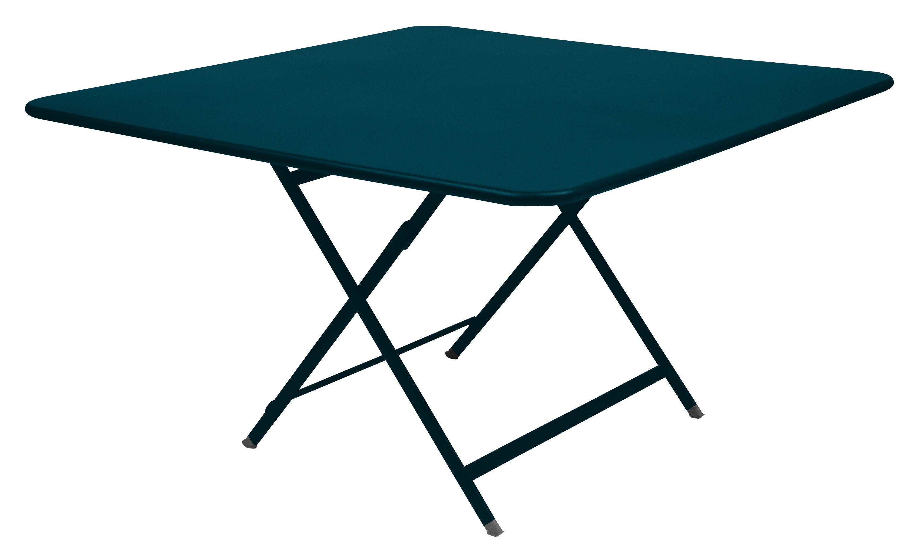 Outdoor - Tables de jardin - Table pliante Caractère / 128 x 128 cm - Fermob - Bleu Acapulco - Acier laqué