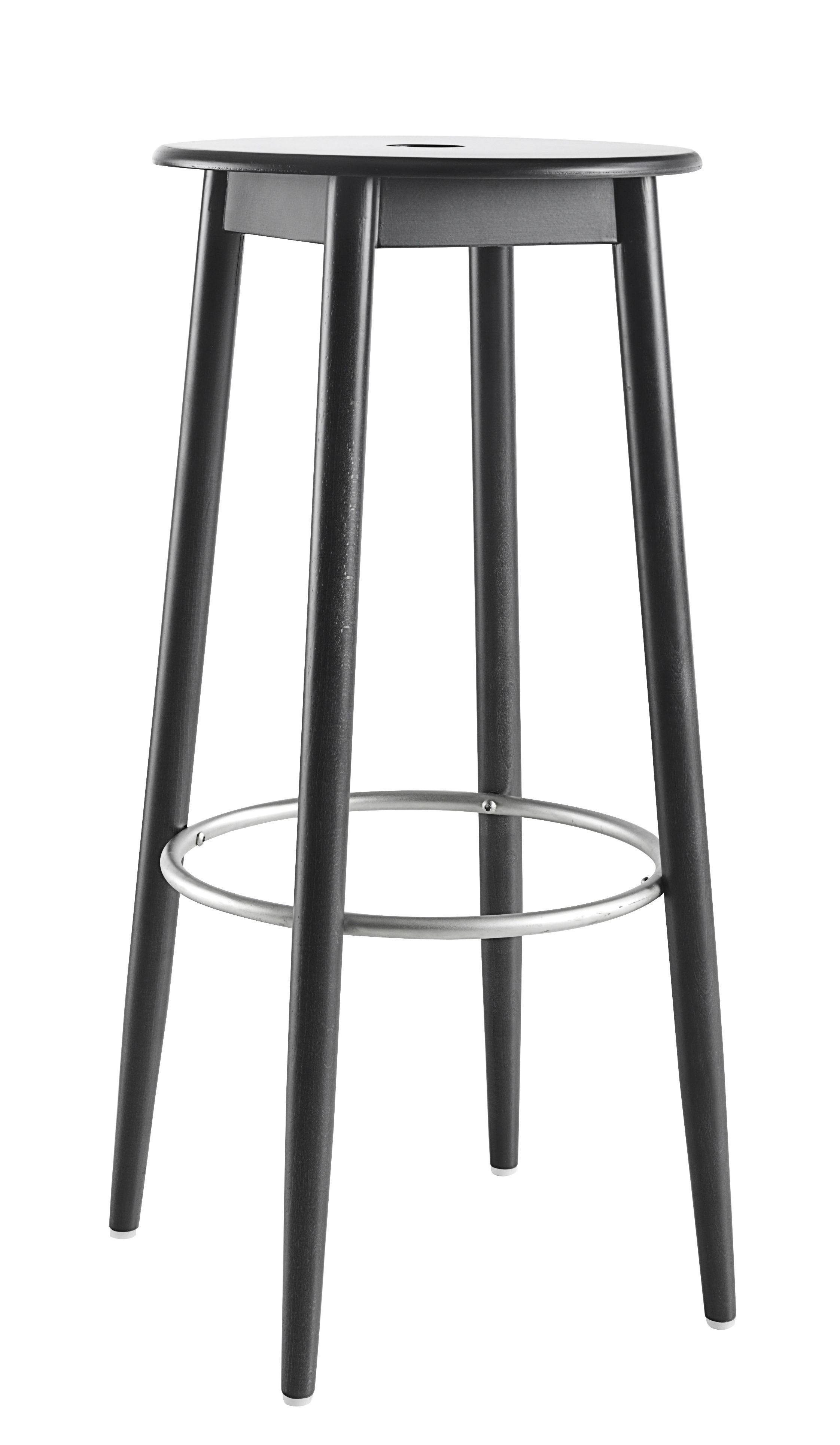 Mobilier - Tabourets de bar - Tabouret de bar Oto / H 75 cm - Bois - Ondarreta - Noir - Hêtre teinté