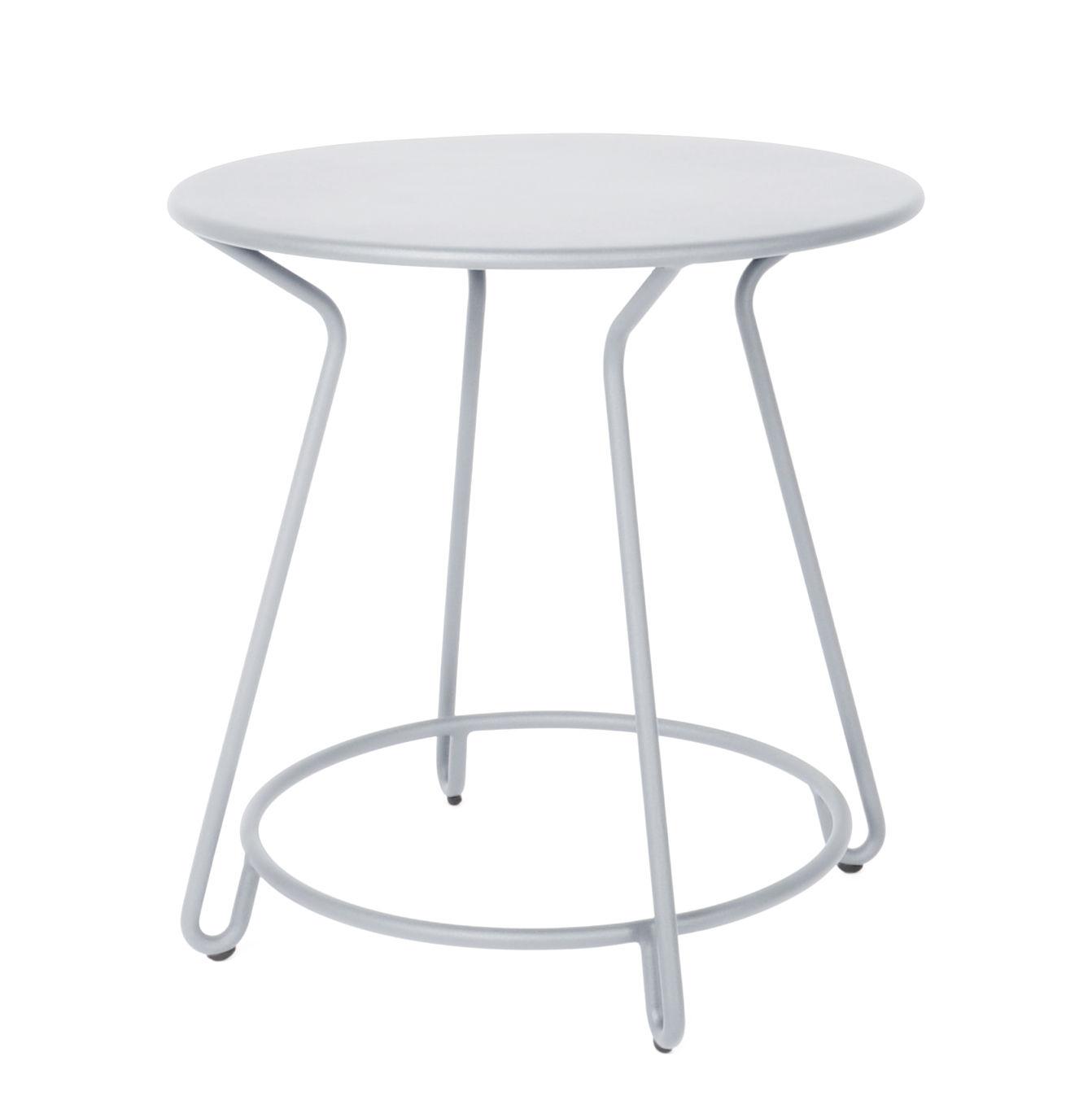 Outdoor - Tavoli  - Tavolo rotondo Huggy - / Ø 75 cm - Alluminio di Maiori - Grigio frosty - Alluminio laccato a polvere