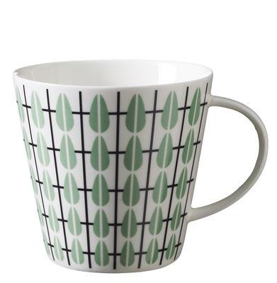 Tavola - Tazze e Boccali - Tazza da thé Olivia / Ø 9,5 x H 9 cm - Super Living - Bianco / Decorazione verde menta - Porcellana smaltata