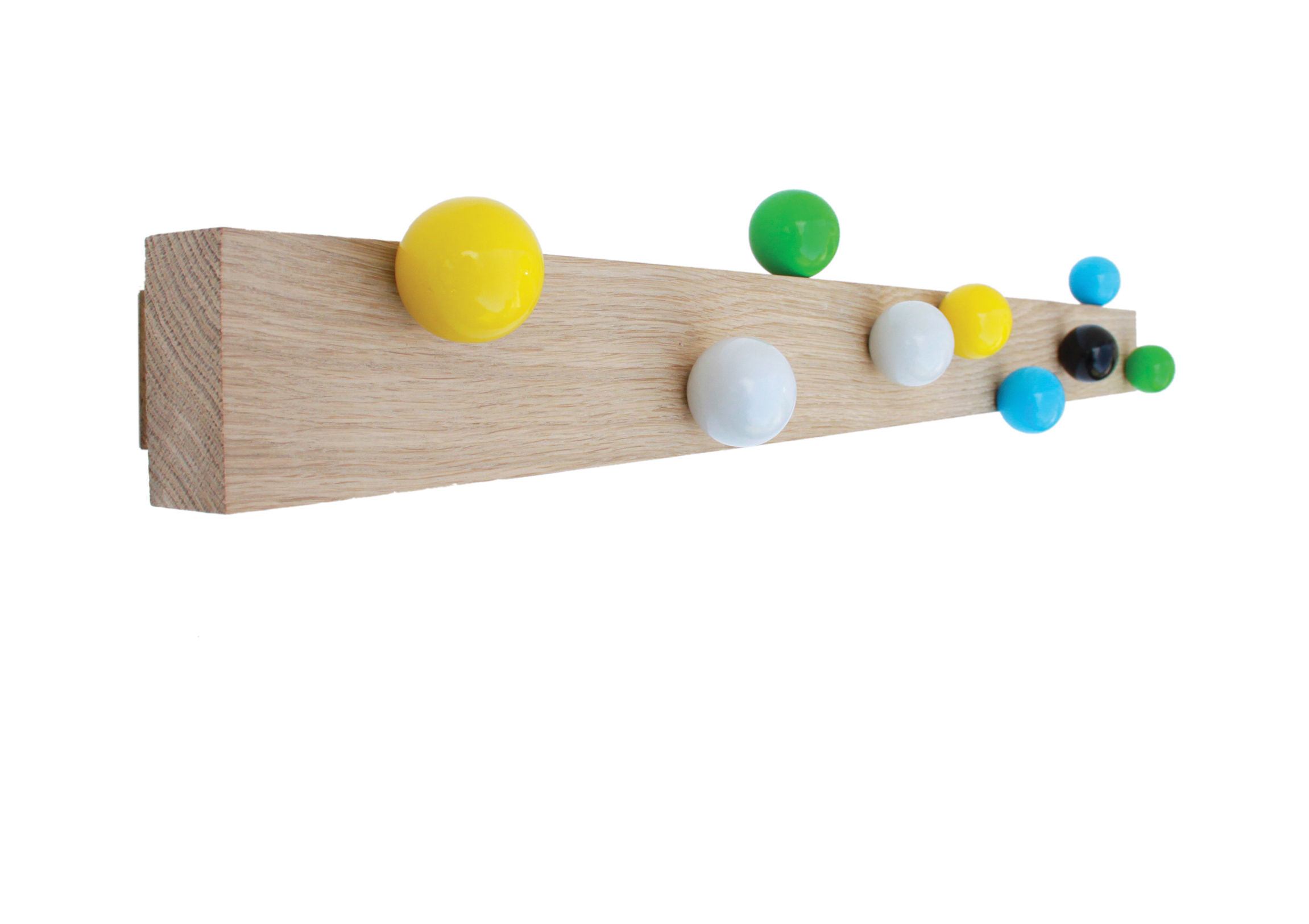 Furniture - Coat Racks & Pegs - Roll hooks Wall coat rack - / 9 patères by Thelermont Hupton - Chêne naturel / Multicolore - Beechwood, Solid oak