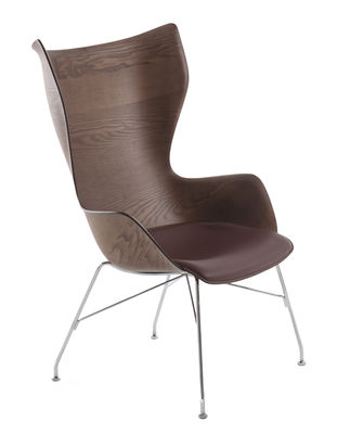 Furniture - Armchairs - K/Wood Armchair - / High backrest - Moulded wood & leather by Kartell - Dark ash & black leather / Chromed leg - Chromed steel, Leather, Moulded dark stained ash plywood