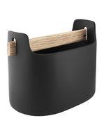 Bac de rangement Toolbox / L 19 x H 15 cm - Céramique & chêne - Eva Solo noir,bois naturel en céramique