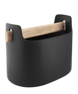 Bac de rangement Toolbox / L 19 x H 15 cm - Céramique & chêne - Eva Solo noir en céramique