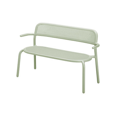 Furniture - Benches - Toní Bankski Bench with backrest - / L 127 cm - Perforated aluminium by Fatboy - Green - Powder-coated aluminium