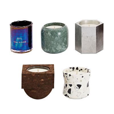 Déco - Bougeoirs, photophores - Bougie parfumée Materialism / Set de 5 - Tom Dixon - Multicolore - Aluminium, Liège, Marbre, Terrazzo, Verre