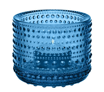 Decoration - Candles & Candle Holders - Kastehelmi Candle holder - H 6,4 cm by Iittala - Turquoise - Glass