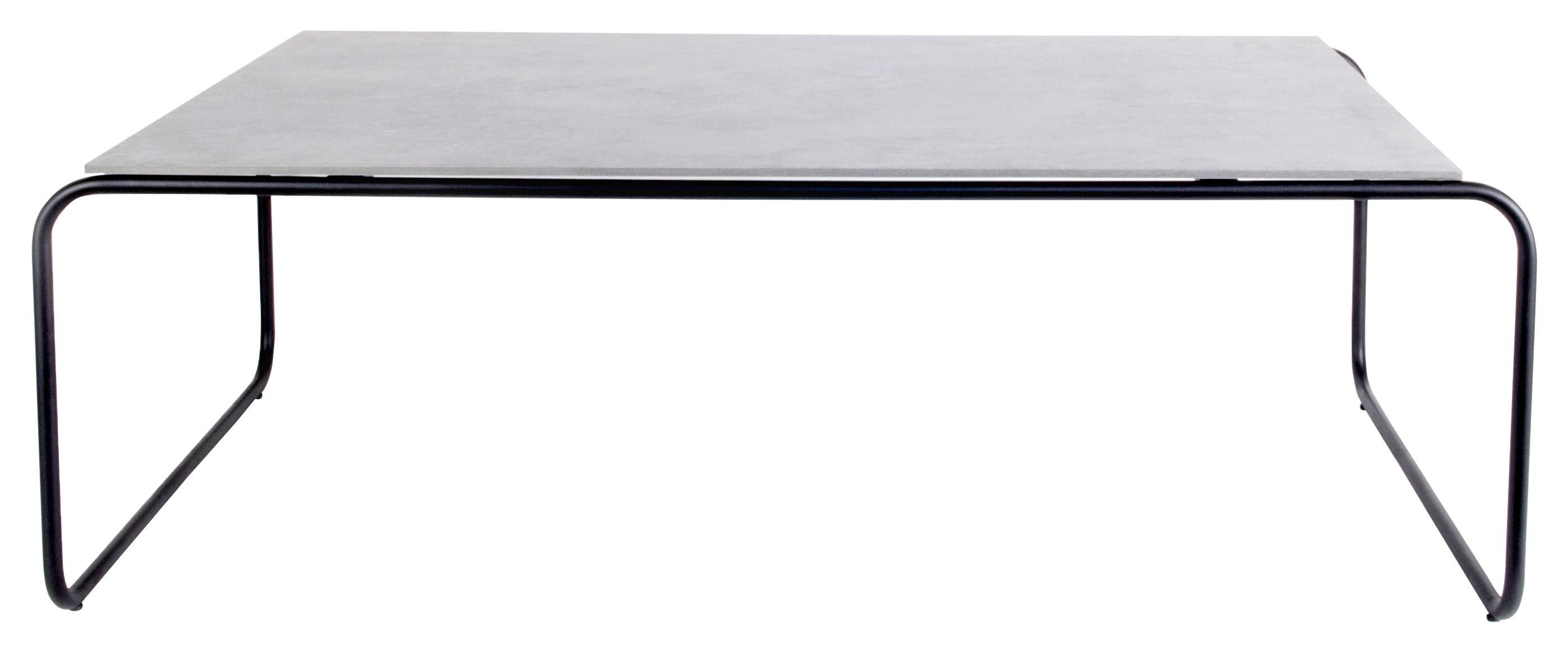 Furniture - Coffee Tables - Yoso Medium Coffee table - 120 x 69 x H 39 cm / Cement by XL Boom - Grey ciment / Black -  Fibre-ciment, Epoxy lacquered steel