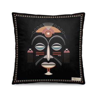 Decoration - Cushions & Poufs - Mask Cushion - / Velvet - 45 x 45 cm by PÔDEVACHE - Pattern no. 1 / Black - Polyester, Velvet