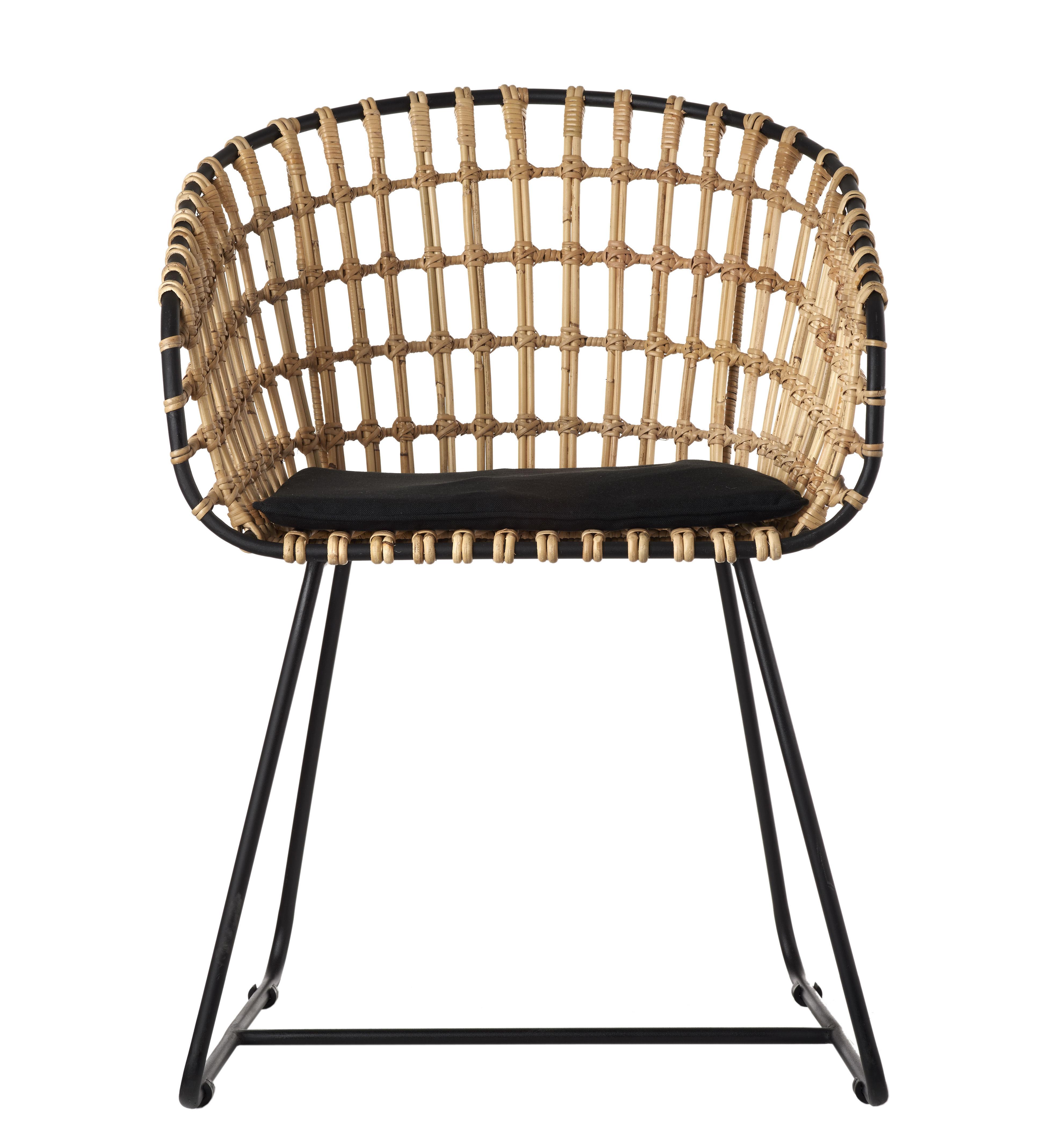 fauteuil tokyo pols potten - naturel / pieds noir - l 53 x h 79