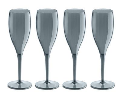 Flûte à champagne Cheers NO. 1 / Plastique - Lot de 4 - Koziol gris transparent en matière plastique
