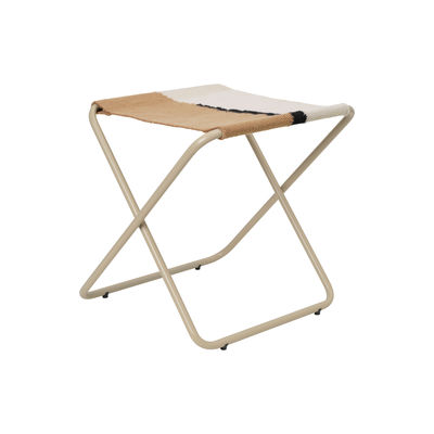 Furniture - Stools - Desert folding stool - / Recycled plastic bottles - Beige structure by Ferm Living - Beige metal / Soil Fabric - Powder coated steel, Recycled fabric