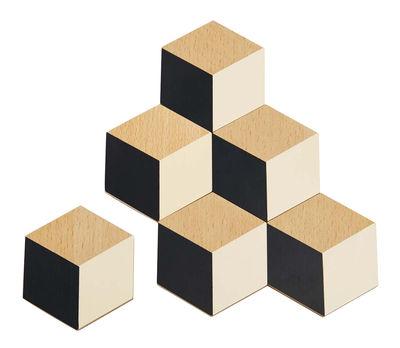 Tableware - Table Mats & Trivets - Table Tiles Glass coaster - Wood - Set of 6 by Areaware - Pop Corn - Beige/Black/Wood - Beechwood plywood, Cork, MDF