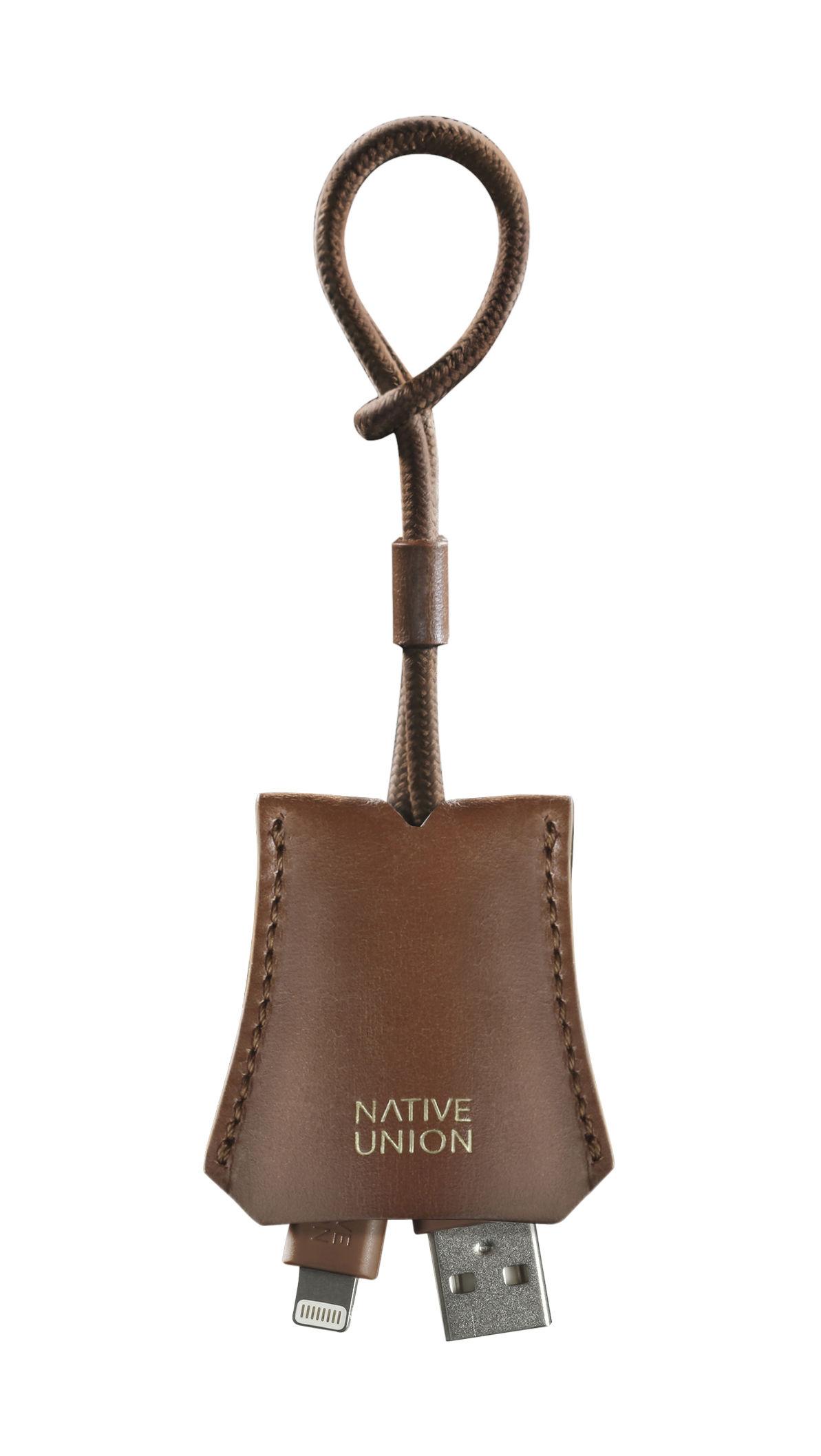 Accessoires - Technik - Tag Ladekabel / Apple-Lightning auf USB - für Schlüsselanhänger - Native Union - Cognac - Cuir véritable, Nylon