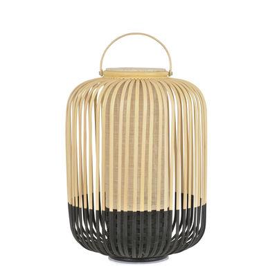 Leuchten - Tischleuchten - Take A Way LED Lampe ohne Kabel / Medium - Ø 27 x H 44 cm - Exklusivität - Forestier - Schwarz & Natur - Bambus