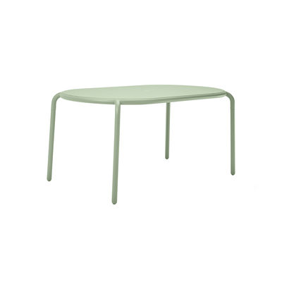 Outdoor - Garden Tables - Toní Tavolo Oval table - / 160 x 90 cm - Parasol hole + removable candle holder by Fatboy - Green - Powder-coated aluminium
