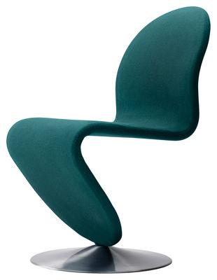 Furniture - Chairs - 123 Padded chair - Panton 1973 / Web exclusivity by Verpan - Petrol blue - Brushed aluminium, Rubber foam, Wool