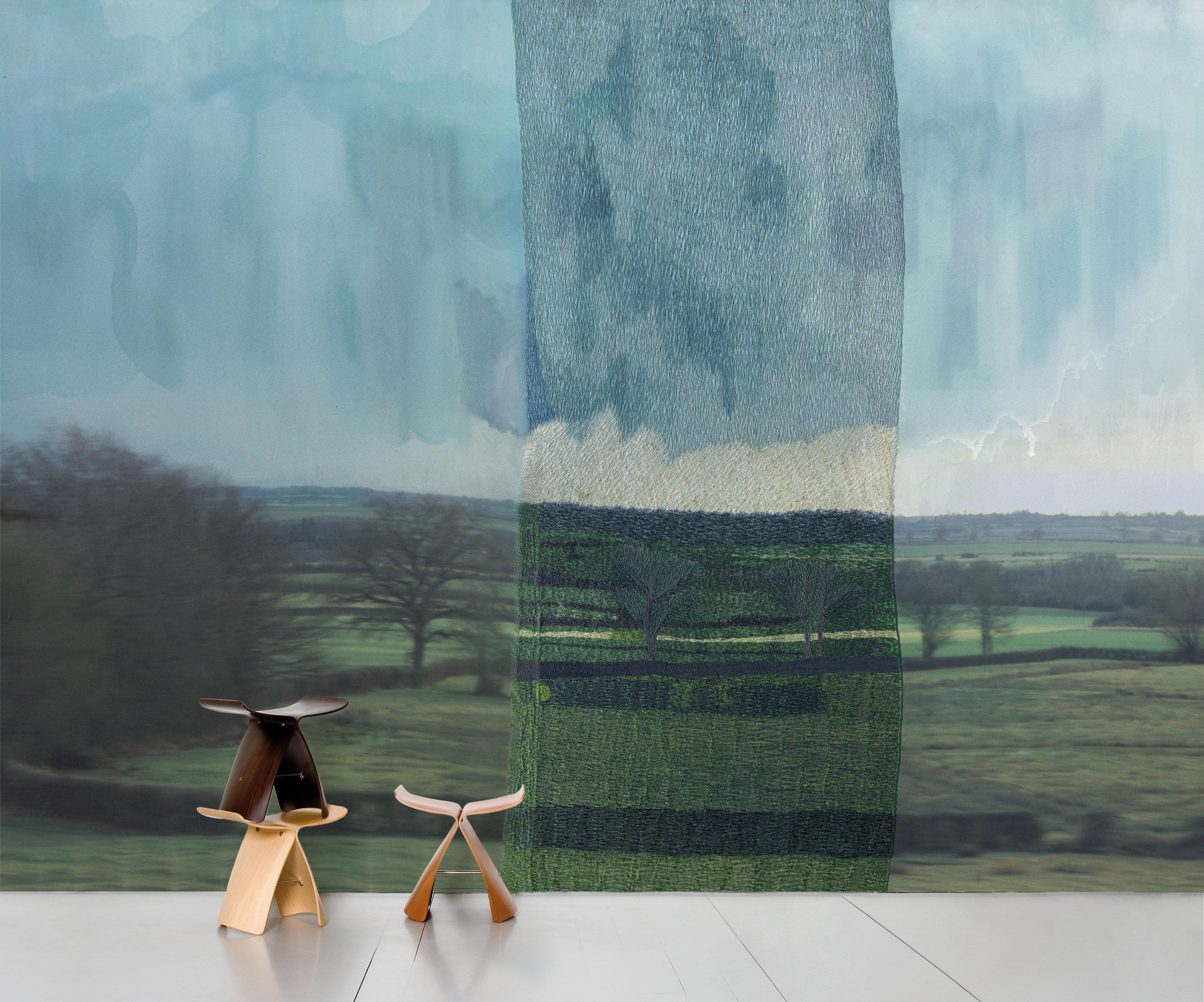 Decoration - Wallpaper & Wall Stickers - De l'autre côté, le calme Panoramic Wallpaper by Domestic - green, blue, black - Intisse paper