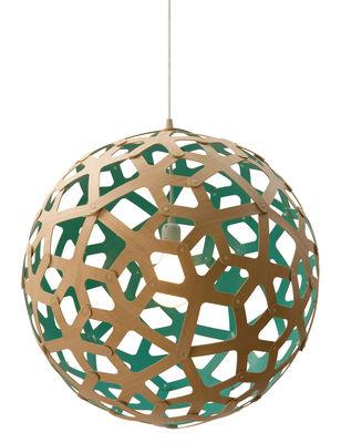 Leuchten - Pendelleuchten - Coral Pendelleuchte Ø 60 cm - Zweifarbig - Exklusiv - David Trubridge - Wassergrün / Holz natur - Kiefer