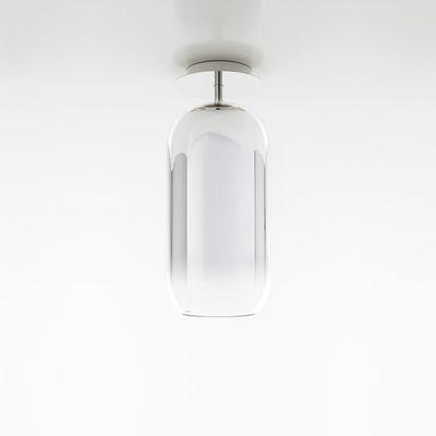 Plafonnier Gople Mini / Verre - H 35 cm - Artemide argent,transparent en verre