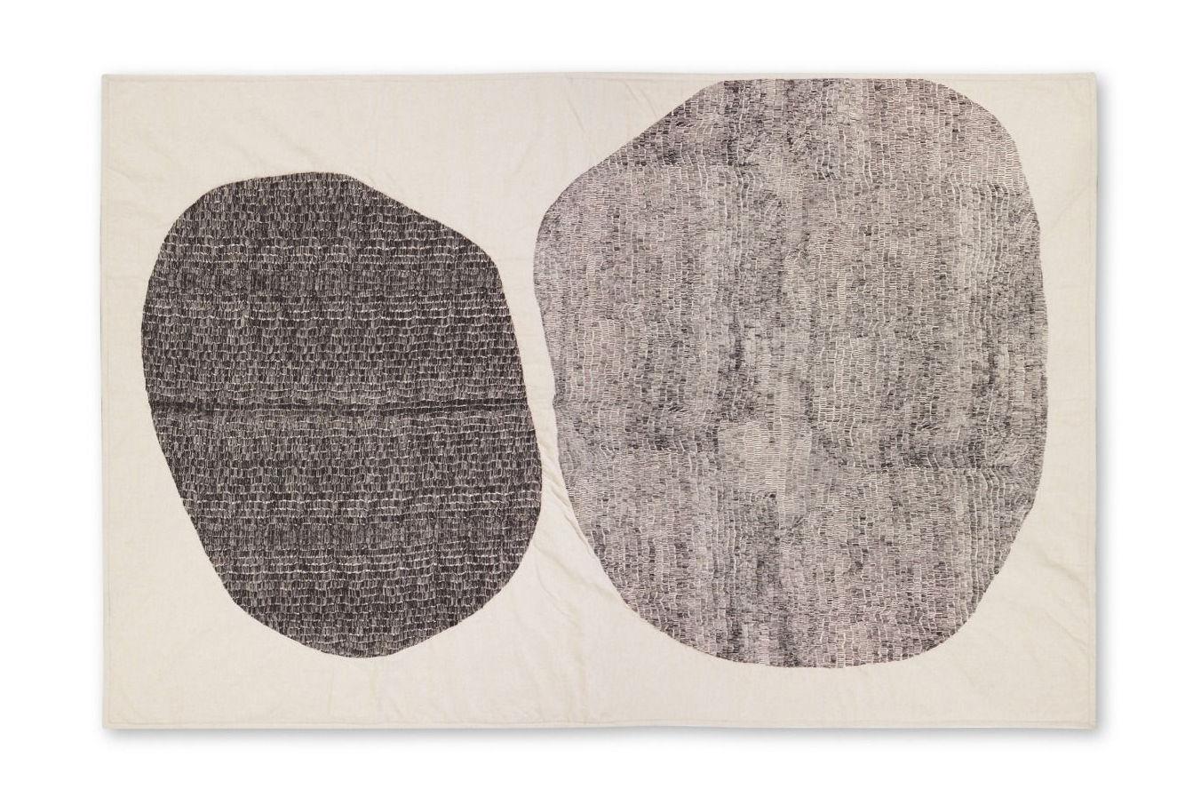 Interni - Tessili - Plaid Stitch - / 130 x 200 cm - Ricamato di Tom Dixon - Nero & beige - Cotone, Lino, Poliestere, Viscosa