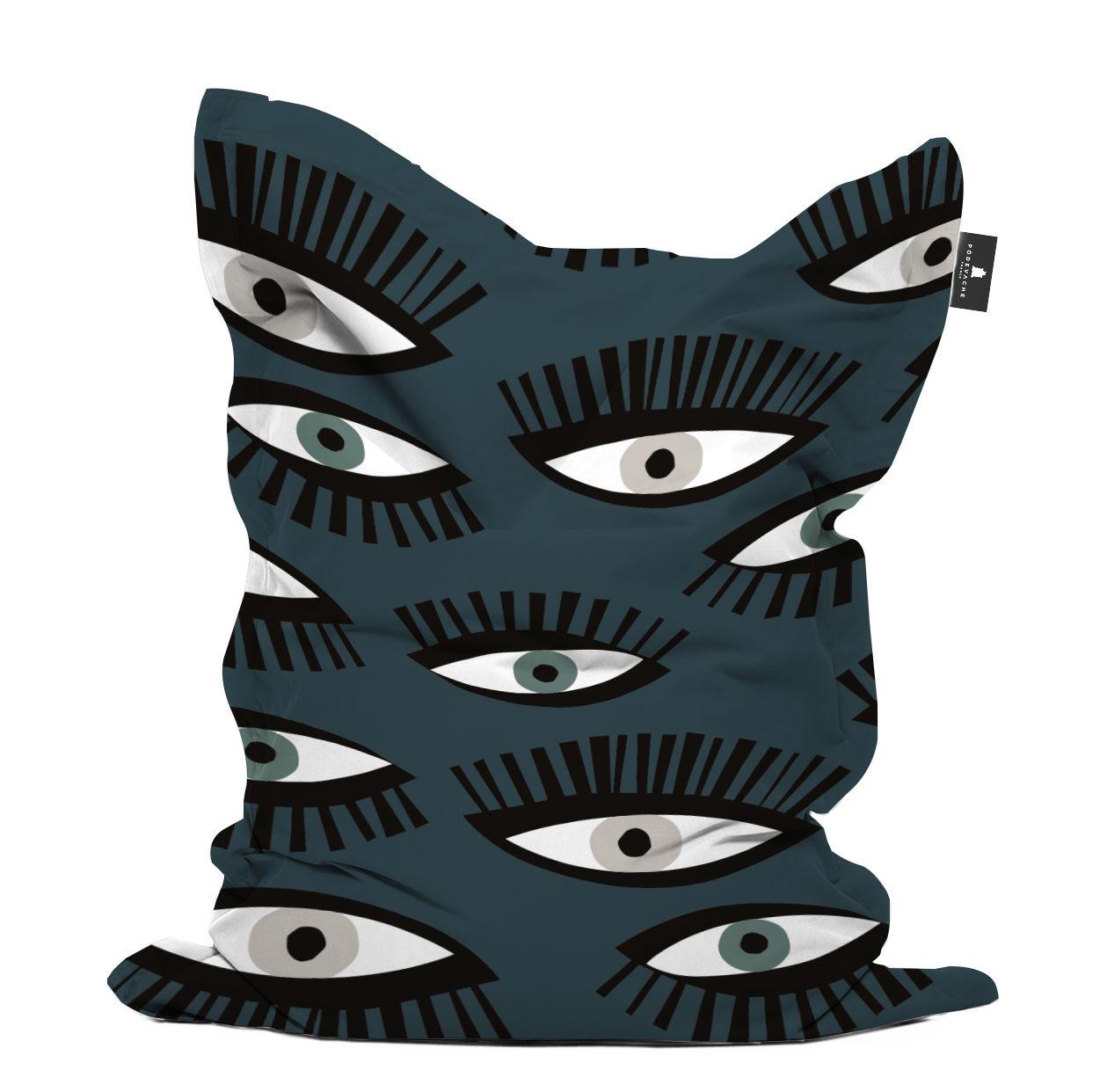 Arredamento - Pouf - Pouf Œil pour œil - / 140 x 180 cm di PÔDEVACHE - Occhio / Blu & nero -  Micro-billes EPS, Poliestere