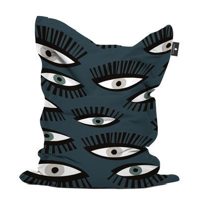 Mobilier - Poufs - Pouf Œil pour œil / 140 x 180 cm - PÔDEVACHE - Œil / Bleu & noir -  Micro-billes EPS, Polyester