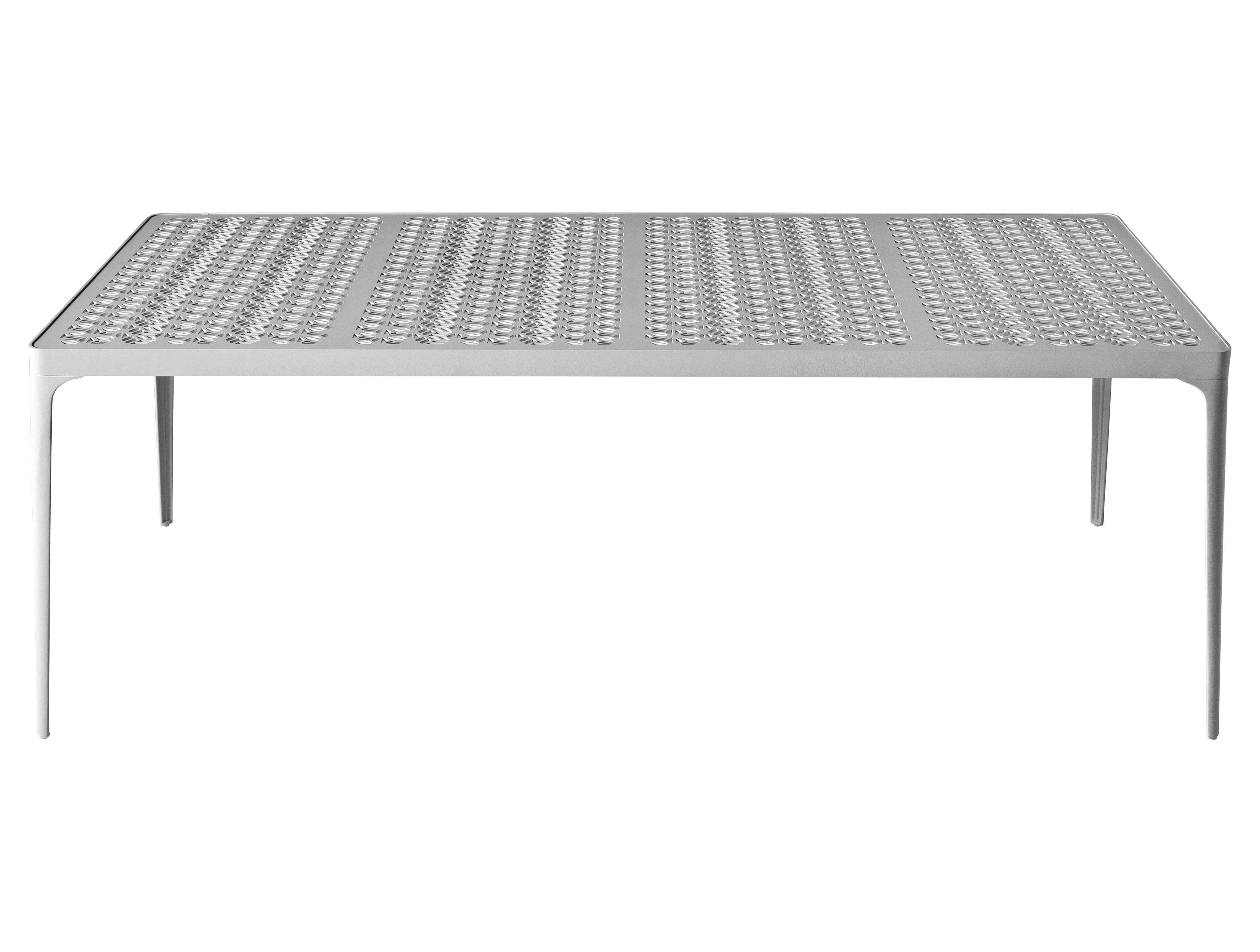 Outdoor - Garden Tables - Sunrise Rectangular table - 200 x 80 cm by Driade - White - 200 x 80 cm - Lacquered aluminium