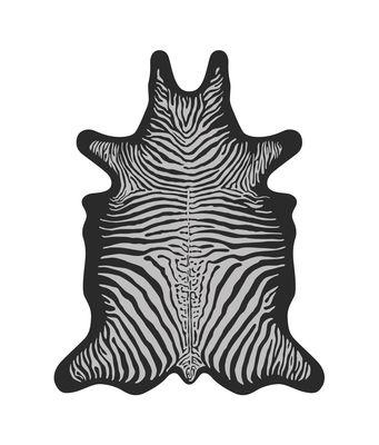 Outdoor - Ornaments & Accessories - Zèbre Rug - / 126 x 159 cm - Vinyl by PÔDEVACHE - Zebra / Black & white - Vinal