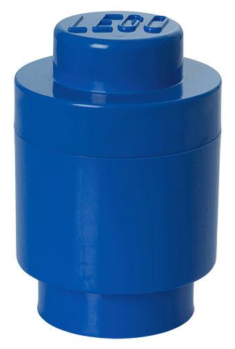 Interni - Per bambini - Scatola Lego® Brick Round - / 1 bottoncino - Impilabile di ROOM COPENHAGEN - Blu - Polipropilene