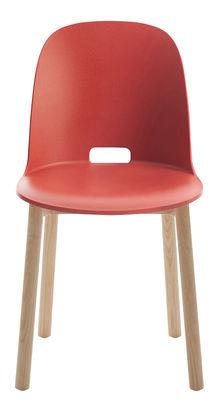 Image of Sedia Alfi / Base frassino - Emeco - Rosso - Materiale plastico/Legno