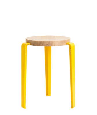 Furniture - Stools - Lou Stackable stool - / H 45 cm - Steel & oak by TipToe - Cobalt yellow / Oak - Powder coated steel, Solid oak