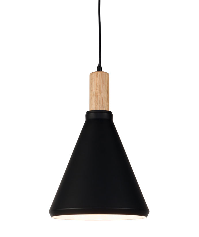 Luminaire - Suspensions - Suspension Melbourne Small /Ø 25 x H 38 cm - Métal & bois - It's about Romi - Small / Noir & bois - Acier peint, Hévéa