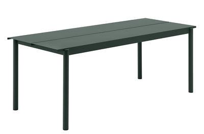 Table Linear Acier 200 x 75 cm Muuto vert foncé en métal