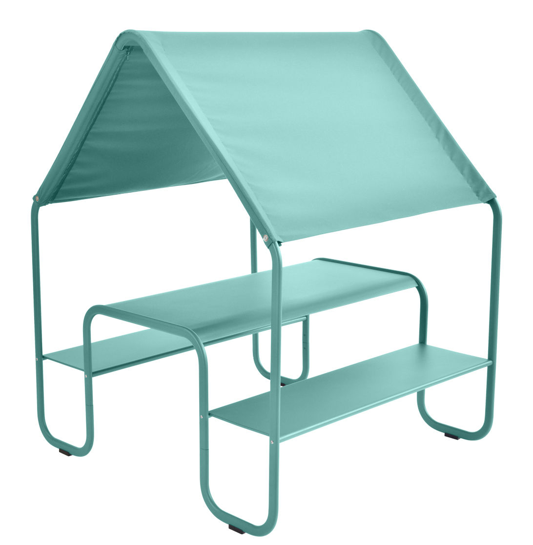 Arredamento - Mobili per bambini - Tavolo bambino Picnic / Capanna - Metallo e tessuto - Fermob - Blu laguna - Acciaio verniciato, Tela acrilica