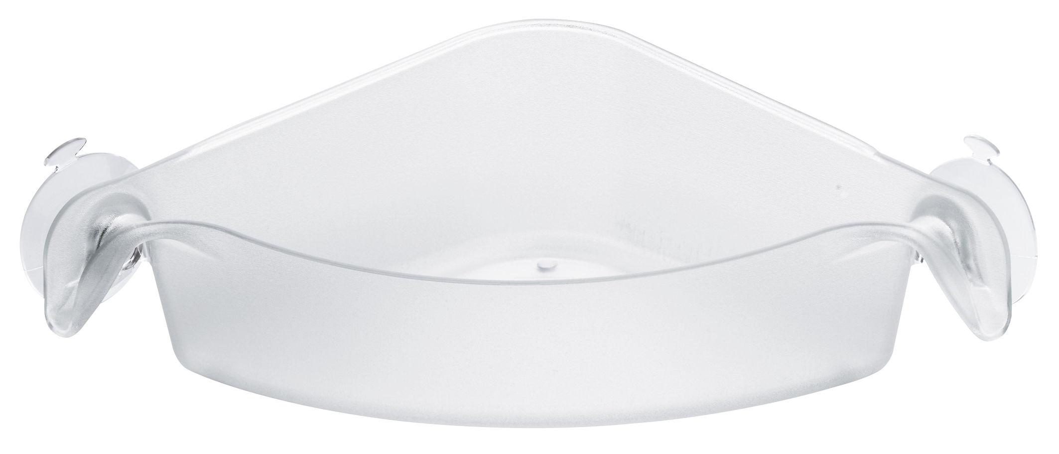 Interni - Bagno  - Vaschetta portaoggetti Boks - D'angolo - Con ventosa di Koziol - Trasparente - Materiale plastico