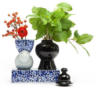 Decoration - Vases - Delft Blue 9 Vase - Set of 2 vases with base by Moooi - White, blue & black - China
