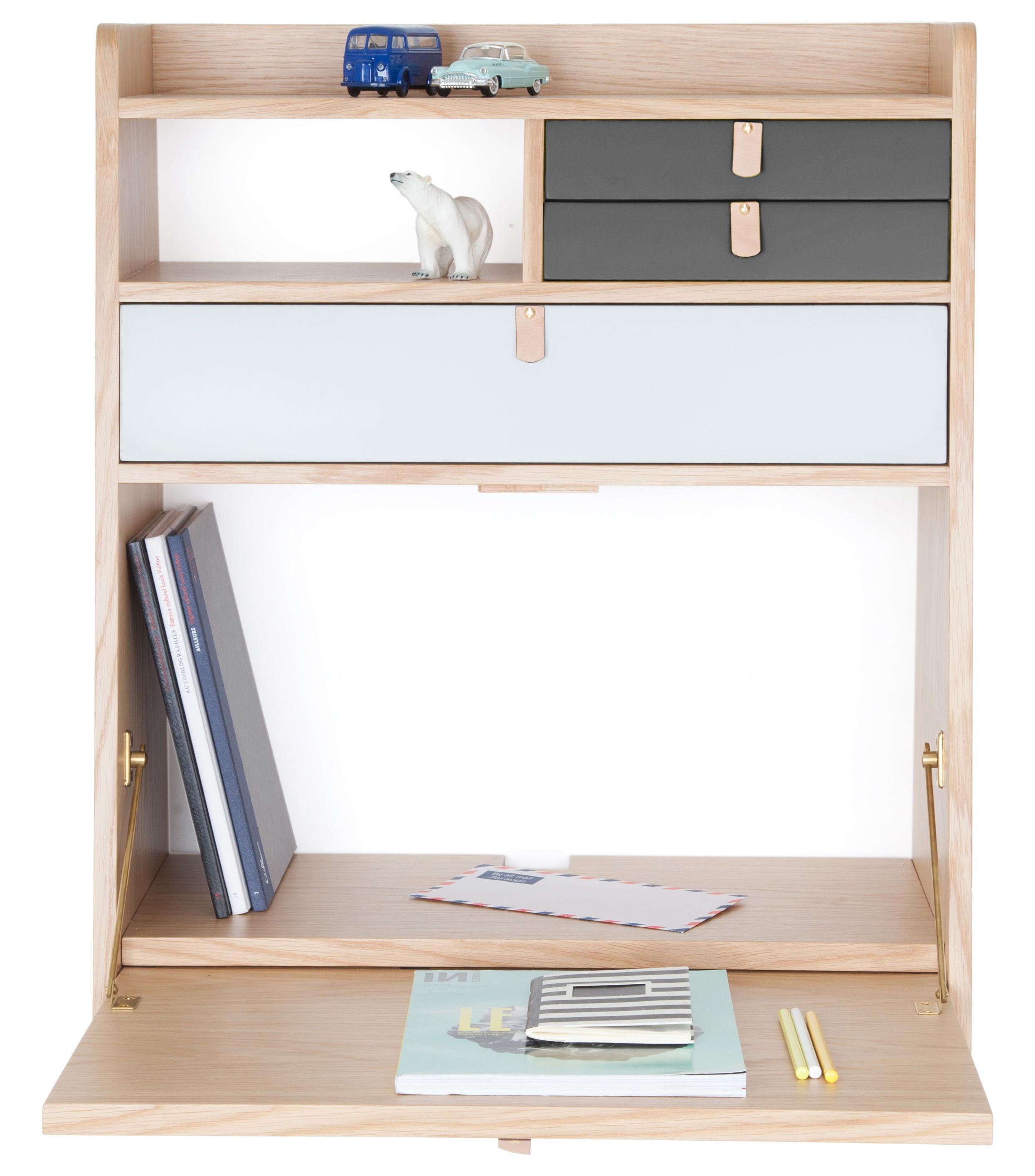 Furniture - Kids Furniture - Gaston Wall writing desk by Hartô - Dark grey & light grey - Leather, MDF veneer oak