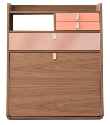 Furniture - Kids Furniture - Gaston Wall writing desk - /Hârto x Made In Design capsule collection - Exclusivity by Hartô - Walnut, Powder pink, Copper - Leather, Walnut plated MDF