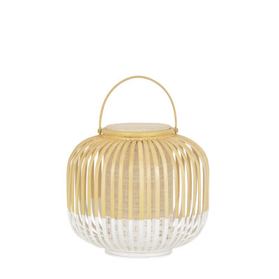 Lighting - Table Lamps - Take A Way LED Wireless lamp - / XS - Ø 27 x H 29 cm - USB charging by Forestier - White / Natural - Bamboo