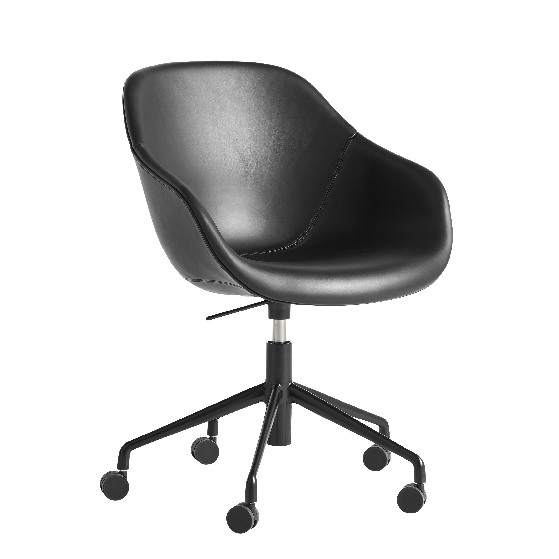 Furniture - Office Chairs - About a chair AAC153 Armchair on casters - / Padded - High backrest - Full leather by Hay - Black leather / Black base - Leather, Painted cast aluminium, Polyurethane foam, Renforced polypropylen