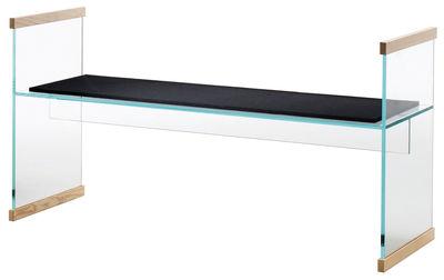 Mobilier - Bancs - Banc Diapositive / L 141 cm - Verre & bois - Glas Italia - Transparent & frêne / Coussin noir - Feutre, Frêne massif, Verre